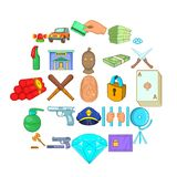 Delinquency icons set, cartoon style. Delinquency icons set. Cartoon set of 25 delinquency vector icons for web isolated on white background Royalty Free Stock Images