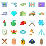 Delinquency icons set, cartoon style Stock Photos