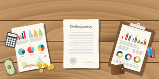 Delinquency illustration concept with paperwork with graph and chart  Royalty Free Stock Images