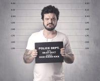 Delinquente travado na cadeia fotos de stock royalty free