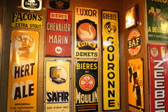 Delirium Cafe Brussels. Beer Brewers adorn the Walls of Delirium Cafe Brussels royalty free stock photos