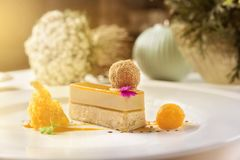 Delis foie gras and mango. stock images