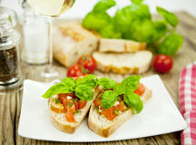 Deliscious antipasti plate with parma parmesan olives Stock Photo