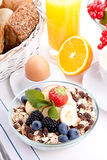 Deliscious healthy breakfast with flakes and fruits  Royalty Free Stock Photo