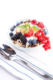Deliscious healthy breakfast with flakes and fruits isolated Stock Images