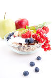 Deliscious healthy breakfast with flakes and fruits isolated Stock Photography
