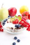 Deliscious sund frukost med isolerade flingor och frukter arkivbilder