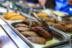 Delishious cutlets on a storefront in the restaurant. Royalty Free Stock Photo