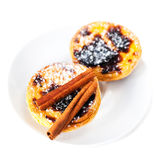 Delisious Egg Tarts with sweet curstard cream and cinnamon stick Royalty Free Stock Photos