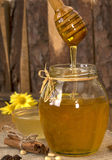 Delisious sweet honey flowing down in glass jar. Stock Images