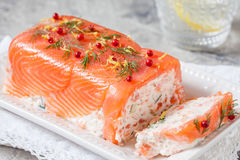 Delisius salmon terrine. With cream cheese and cucumber Royalty Free Stock Photography