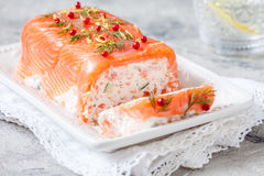 Delisius salmon terrine. With cream cheese and cucumber Royalty Free Stock Photo