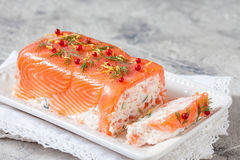 Delisius salmon terrine. With cream cheese and cucumber Royalty Free Stock Photos