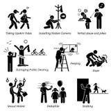 Delito sexual y criminal stock de ilustración