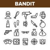 Delitos, sistema de Thin Line Icons del bandido stock de ilustración