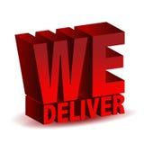 We deliver. 3d we deliver sing illustration isolated over white stock illustration