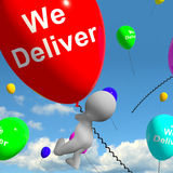 We Deliver Balloons Showing Delivery Shipping Service Or Logisti Stock Photo