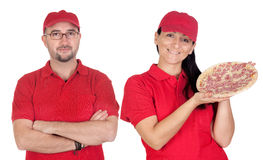 Deliver boy and girl with pizza Stock Photo