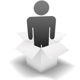 Deliver a Delivery Person in a clean white Carton. Ship & deliver a symbol delivery person inside a clean white open Carton; idea of employee, human resources stock illustration