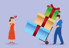 Deliver Gifts to Pretty Lady Vector Cartoon Illustration Stock Photos