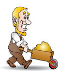 Deliver gold. Illustration of delivery service; delivery man with hand truck deliver gold, isolated on a white background stock illustration