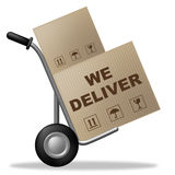 We Deliver Indicates Shipping Box And Cardboard Stock Photos