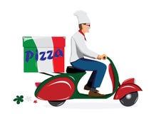 Deliver pizza. On vintage scooter stock illustration