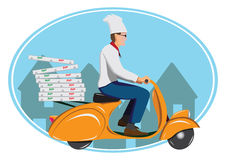 Deliver pizza Stock Photos