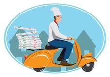 Deliver pizza. On vintage scooter vector illustration
