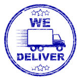 We Deliver Stamp Shows Transportation Delivery And Post Royalty Free Stock Image