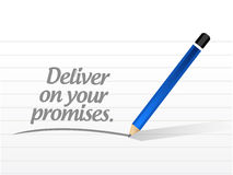 Deliver on your promises message illustration. Design over a white background Stock Image