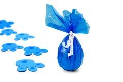 Delivered blue Easter egg stock images