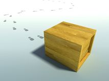 Delivered crate. Wooden crate 3d rendering with human footsteps Royalty Free Stock Image