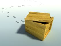 Delivered crate. Wooden crate 3d rendering with human footsteps Stock Image