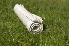 Delivered newspaper. On the green grass in the garden Royalty Free Stock Photo