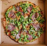 Delivered pizza Stock Images