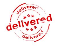 Delivered. Rubber stamp with word delivered inside,  illustration Royalty Free Stock Photos