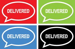 DELIVERED text, on ellipse speech bubble sign. Royalty Free Stock Image