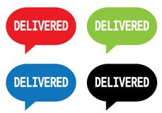 DELIVERED text, on rectangle speech bubble sign. Royalty Free Stock Photos