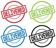 DELIVERED text, on round simple stamp sign. Stock Images