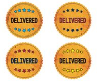 DELIVERED text, on round wavy border vintage, stamp badge. Royalty Free Stock Images