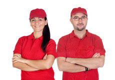 Deliverers team with red uniform. Isolated over white background stock photos