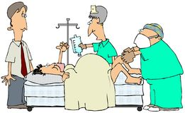 Delivering A Baby. This illustration depicts a Mom delivering a baby while a doctor, nurse and expectant father are assisting Stock Photo