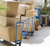 Delivering boxes supplies packages royalty free stock image