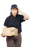 Delivering a damaged package Royalty Free Stock Photography