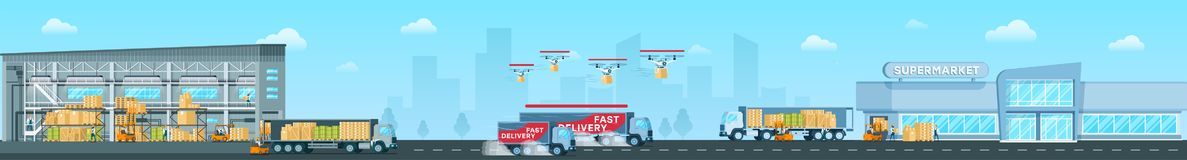 Delivering Goods From Depot to Shop Vector Concept royalty free illustration