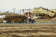 Delivering Logs 2. Lumber being delivered to a forest products sawmill Stock Images