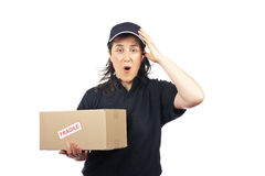 Delivering a package fragile Stock Images