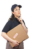 Delivering a package fragile Stock Image