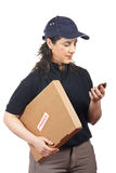 Delivering a package fragile royalty free stock photo